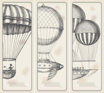 Obraz Retro banery - stare maszyny latające