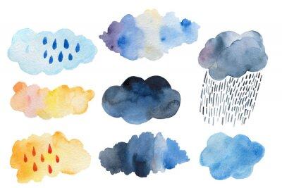 Obraz Retro clouds and rain in the sky illustration blue scandinavian style background Retro clouds and rain in the sky illustration blue scandinavian style background