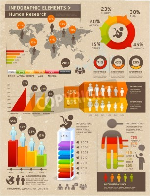 Retro Color Infographics Elements with World map and Information Graphics on Old Paper Background. Can be used for workflow layout, diagram, step options, web design, number options banner.