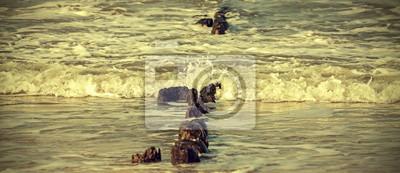 Retro filtrowany obraz brzegu morza i starych drewnianych słupach.