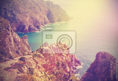Retro filtrowany obraz wybrzeża Portugalii.