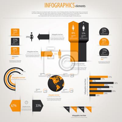 Retro infografiki ustawiony. Mapa świata i grafika informacyjne. Vect