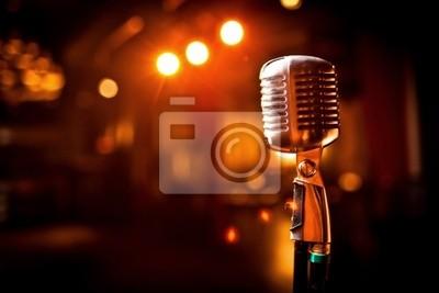 Obraz Retro mikrofon na scenie