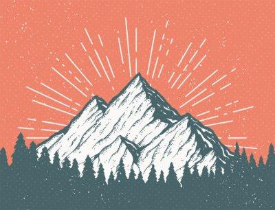 Obraz Retro Mountain Pocztówka