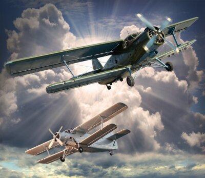Obraz Retro obraz stylu z biplanów. Motyw Transport.