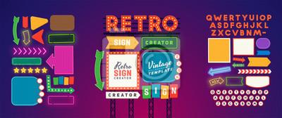 Obraz Retro signboard creator. Set elements for street sign. Scene creator, neon sign. Retro font. Advertising space.