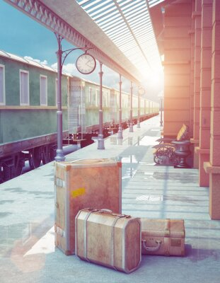 Obraz retro stacja kolejowa
