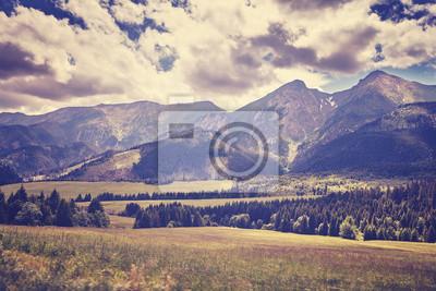 Retro stare stylizowane filmowe zdjęcie Wysokich Tatr, Słowacja.