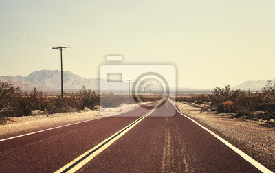 Retro stary stylowy obraz puste drogi, USA.