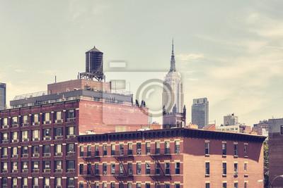 Retro stonowany obrazek starzy Manhattan budynki, Miasto Nowy Jork, usa.