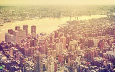 Obraz Retro stonowanych lotu ptaka Nowy Jork, USA.