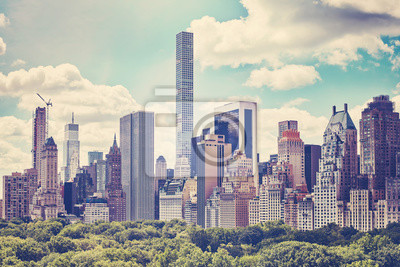 Retro stonowanych obraz panoramę Górnego Boku nad Central Park, Nowy Jork, USA.