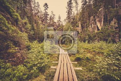 Retro stonowanych zdjęcie drewnianej ścieżki w Adrspach Teplice skalnego miasta w Czechach.
