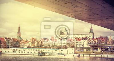 Retro stylized panoramic view of Szczecin.