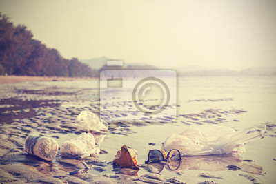 Retro stylized picture of garbage on a beach.