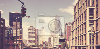 Retro stylized picture of New York cityscape, US.