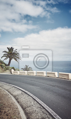 Retro stylized picture or a scenic road, Tenerife, Spain.