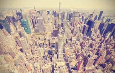 Obraz Retro stylizowane lotu ptaka Manhattanie w Nowym Jorku, USA.