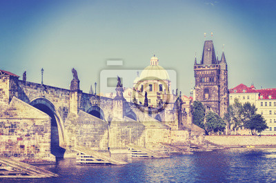 Retro Stylizowane obraz Instagram Praga, Most Karola.