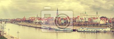 Retro stylizowane panoramiczny obraz Szczecinie.