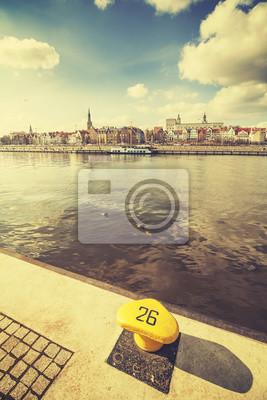 Retro stylizowane uciąg od nabrzeża w Szczecinie, Polska