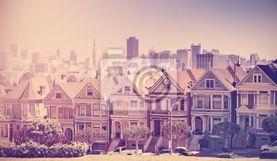 Retro stylizowane zdjęcie San Francisco Skyline, USA.