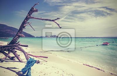 Retro stylizowany obraz plaży.