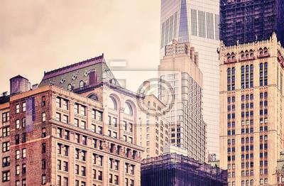 Obraz Retro stylizowany obraz starych i nowoczesnych budynków w Nowym Jorku, USA.