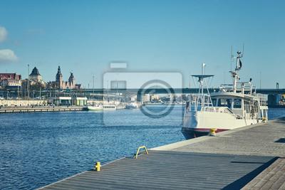 Retro stylizowany obraz Szczecin (Stettin) nabrzeża miasto, Polska.