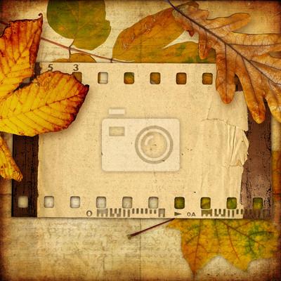 Retro tła z ramki i jesienią liści