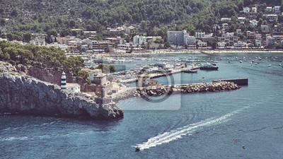 Retro toned panoramic view of Port de Soller, Mallorca, Spain.