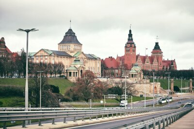 Retro toned picture of historic part of Szczecin City, Poland.