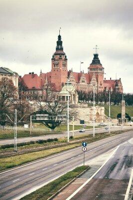 Retro toned picture of historic part of Szczecin City (Waly Chrobrego), Poland.