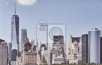Retro toned picture of Manhattan cityscape, New York City, USA.
