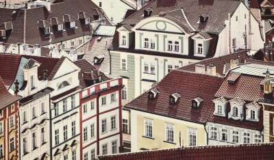 Retro toned picture of Prague Old Town architecture, Czech Republic.
