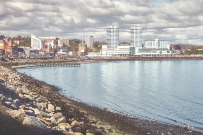 Retro toned picture of Puerto Montt city, Chile.