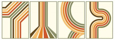 Obraz retro vintage 70s style stripes background poster lines. shapes vector design graphic 1970s retro background. abstract stylish 70s era line frame illustration