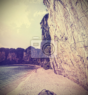 Retro vintage filtered picture of a cliff beach.