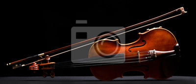 Obraz retro violin on a black background