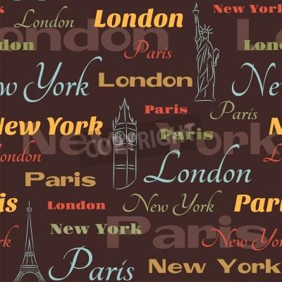 Obraz Retro z nazwami Nowym Jorku, Londynie i Paryżu i symbole miasta