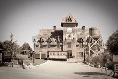 Obraz Retro zdjęcie Far West miasta dworca kolejowego w