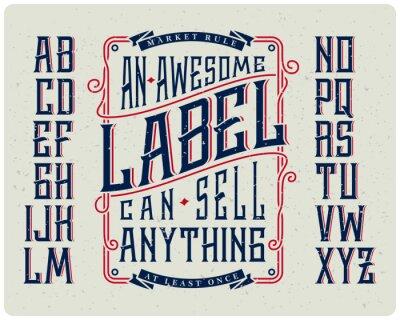 Obraz Retro zestaw czcionek z ornamentem ramki do tworzenia projektu etykiety