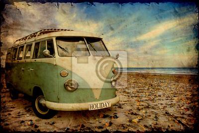Obraz Retroplakat - Bulli am Strand