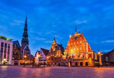 Obraz Riga Town Hall Square, House of the Blackheads, St. Roland Statu