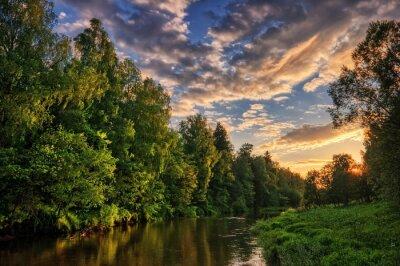 river in sunset light