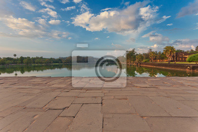 River near ancient buddhist khmer temple in Angkor Wat complex