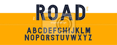Obraz Road font. Typography design with street lines. Vector letters