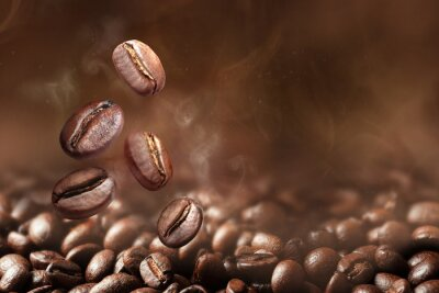 Obraz Roasted coffee beans on grey background, closeup