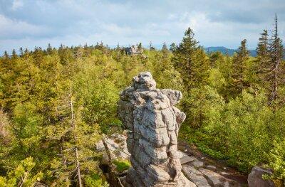 Rock formations of Szczeliniec Wielki, Stolowe Mountains National Park, Poland.