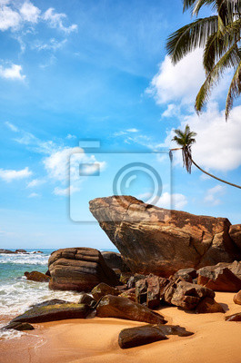 Rocks on a tropical beach, Sri Lanka.